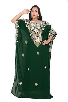Green georgette moroccan islamic dubai kaftan farasha Aari and stone work dress