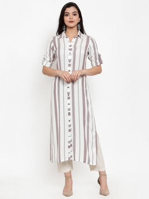 Off-white printed rayon kurtas-and-kurtis