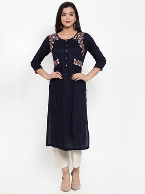 Navy-blue embroidered rayon kurtas-and-kurtis