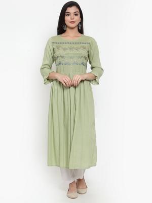 Olive embroidered rayon kurtas-and-kurtis