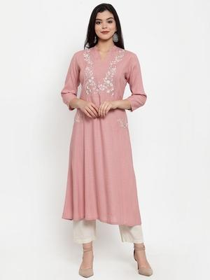 Light-pink embroidered rayon kurtas-and-kurtis