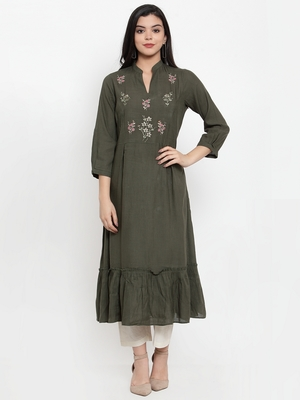 Green embroidered rayon kurtas-and-kurtis