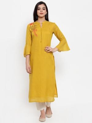 Mustard embroidered cotton silk kurtas-and-kurtis