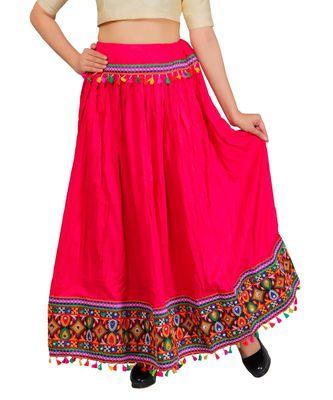 Kutchi Embroidered Border Rayon Skirt/Chaniya - KutchiSkirt-Pink