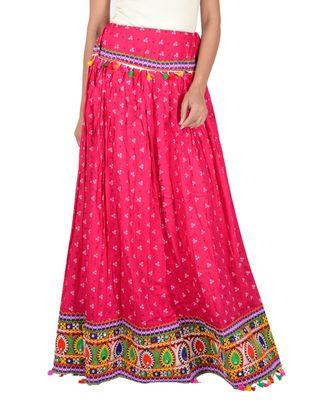 Bandhani Print & Kutchi Embroidered Border Rayon Skirt/Chaniya - BandhaniSkirt-Pink
