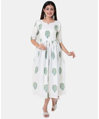 Buta Buti White Half Sleeve Cotton Hand Block Buta Print Womens Kurta
