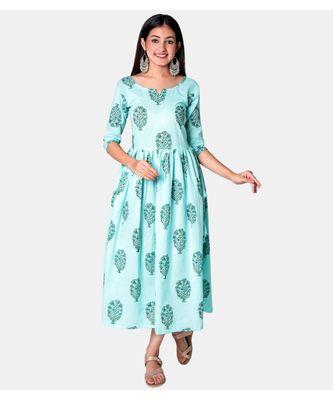 Buta Buti Blue Half Sleeve Cotton Hand Block Buta Print Womens Kurta