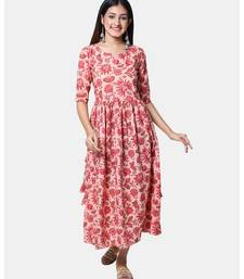 Buta Buti Pink Half Sleeve Cotton Hand Block Jal Print Womens Kurta