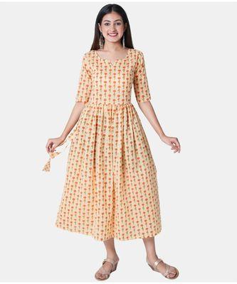Buta Buti Yellow Half Sleeve Cotton Hand Block Buti Print Womens Kurta