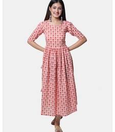 Buta Buti Pink Half Sleeve Cotton Hand Block Buti Print Womens Kurta