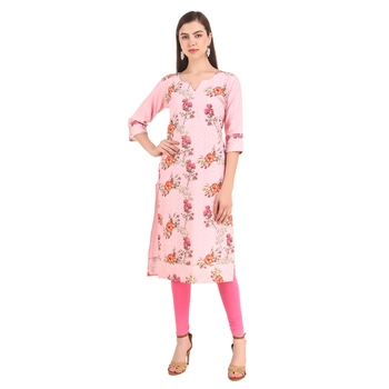 SWAGG INDIA  Wear Lucknow Chikan Needlecraft Digital Printed Rayon Regular Wear Ligth Pink Kurti Kurta