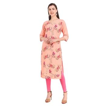 SWAGG INDIA  Wear Lucknow Chikan Needlecraft Digital Printed Rayon Regular Wear Peach Kurti Kurta