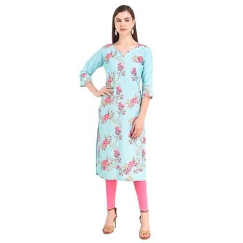 SWAGG INDIA  Wear Lucknow Chikan Needlecraft Digital Printed Rayon Regular Wear Sky Blue Kurti Kurta