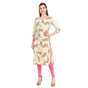 SWAGG INDIA  Wear Lucknow Chikan Needlecraft Digital Printed Rayon Regular Wear Olive Green Kurti Kurta
