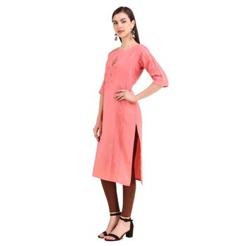 SWAGG INDIA  Wear Hand Work Embroidery Viscose Fabric with Inner Pink Kurta Kurti