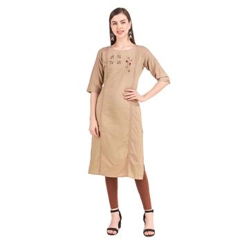 SWAGG INDIA  Wear Hand Work Embroidery Viscose Fabric with Inner Brown Kurta Kurti