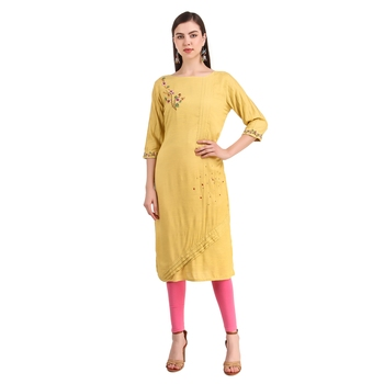SWAGG INDIA  Wear Hand Work Embroidery Viscose Fabric with Inner Yellow Kurta Kurti