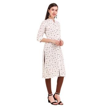 SWAGG INDIA  Wear Rayon Printed White Only Kurta Kurti