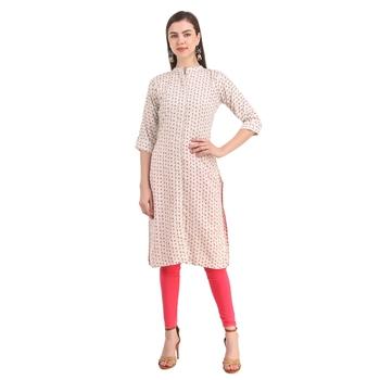SWAGG INDIA  Rayon Printed Off White Only Kurta Kurti