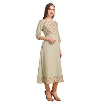 SWAGG INDIA Wear Poly Crepe Foil A- Line Light Olive Color kurta kurti