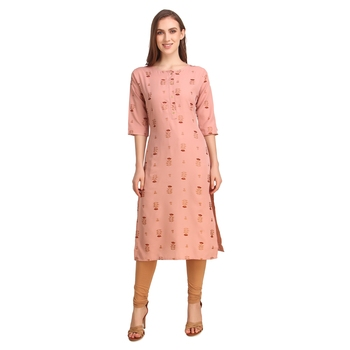 SWAGG INDIA Wear Crepe Foil Straight Cut Light Peach Kurta Kurti