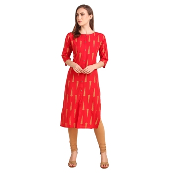 SWAGG INDIA Wear Crepe Foil Straight Cut Red Kurta Kurti