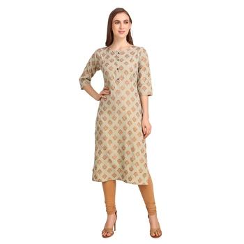 SWAGG INDIA Wear Crepe Foil Straight Cut Light Olive Kurta Kurti