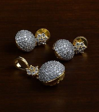Gold Plated Designer American Diamond Pendant Set 216ED436