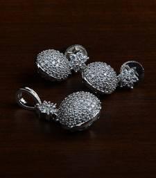 Rhodium Plated Designer American Diamond Pendant Set 216ED437