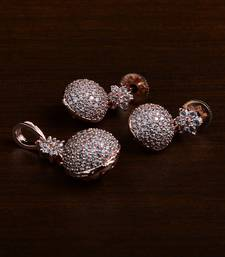 Rose Gold Plated Designer American Diamond Pendant Set 216ED438