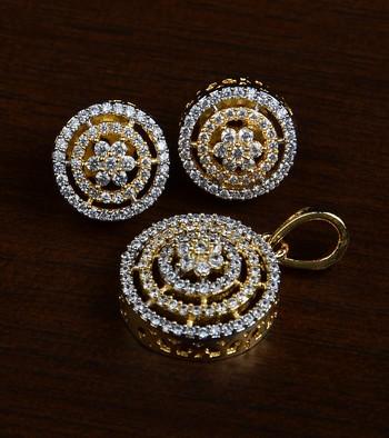 Gold Plated Designer American Diamond Pendant Set 216ED444