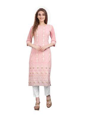 SWAGG INDIA  Wear Lucknow Chikan Needlecraft Cotton Regular Wear Pink Color Kurti Kurta