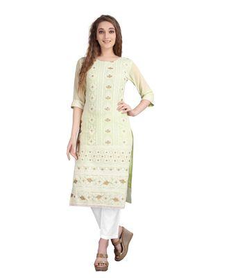 SWAGG INDIA  Wear Lucknow Chikan Needlecraft Faux Georgette Regular Wear Light Green Color Kurti Kurta