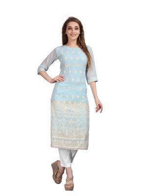 SWAGG INDIA  Wear Lucknow Chikan Needlecraft Faux Georgette Regular Wear Light Sky Blue Color Kurti Kurta