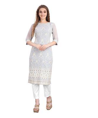 SWAGG INDIA  Wear Lucknow Chikan Needlecraft Faux Georgette Regular Wear Light Grey Color Kurti Kurta