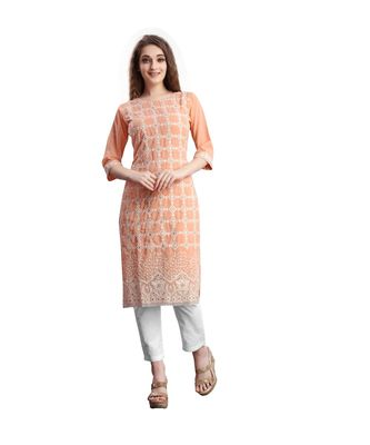 SWAGG INDIA  Wear Lucknow Chikan Needlecraft Faux Georgette Regular Wear Peach Color Kurti Kurta