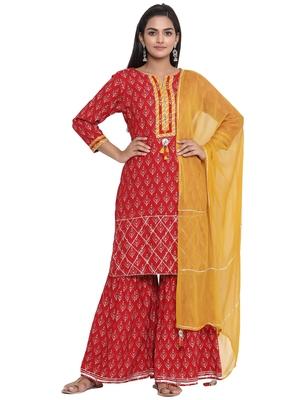 F Women's Rayon Hand Block Printed Straight kurta Sharara Dupatta Set (Red)