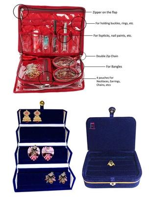 atorakushon® Satin Combo Makeup Pouch Necklace Jewellery Wardrobe Organizer Vanity Travel Kit Bag For Women's (maroon)