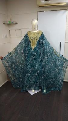 MOROCCAN DUBAI KAFTAN ABAYA DRESS FANCY LONG GOWN BEACH WEAR TIGER PRINT 2156