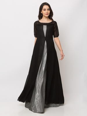 Sheczzar Black Color Georgette Floor Length  Party wear Gown.