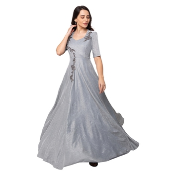 Sheczzar Grey Color Simmer Floor Length  Party wear Gown.