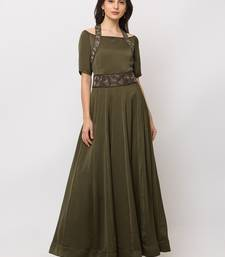 Sheczzar Bottle Green Color Cotton Floor Length  Party wear Gown.