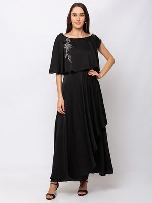 Sheczzar Black Color COTTON  Floor Length  Party wear Gown.