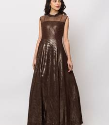 Sheczzar Brown Color Lycra Floor Length  Party wear Gown.