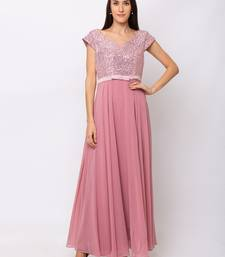 Sheczzar Pink Color Georgette Floor Length  Party wear Gown.