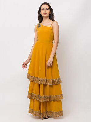 Sheczzar Mustard Color Georgette Floor Length  Party wear Gown.