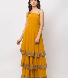 Sheczzar Mustard Color Georgette Floor Length  Party wear Gown.