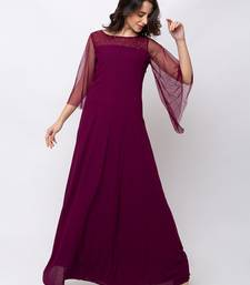Sheczzar Wine Color Georgette Floor Length  Party wear Gown.