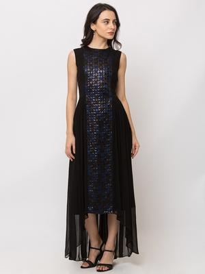 Sheczzar Black Color JAQUARD High Low Party wear Gown.