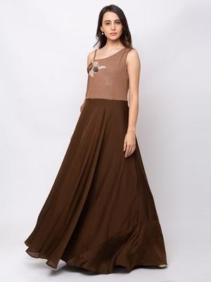 Sheczzar Brown Color Crepe Floor Length  Party wear Gown.